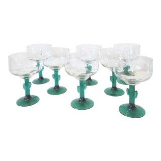 Vintage Cactus Stem Margarita Glasses - Set of 8 For Sale