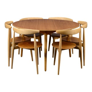 1950s Scandinavian Hans Wegner Heart Set Dining Set - 7 Pieces For Sale