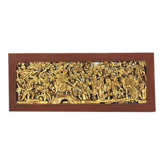 Large Chinese Gilt Wood Hand Carved Wood Warriors Panel, Wall Hanging For Sale