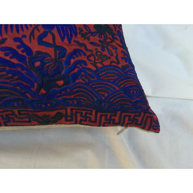 Chinoiserie Silk Crane Boudoir Pillow For Sale - Image 4 of 6