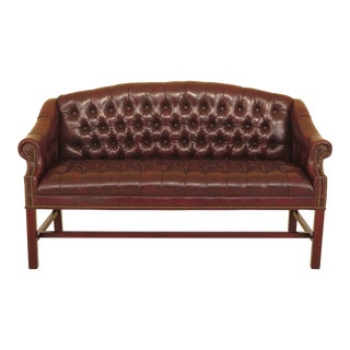 Chippendale Faux Leather Tufted Chesterfield Petite Settee or Sofa For Sale