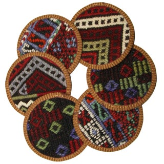 Rug & Relic Kilim Coasters Set of 6 - Haçlı For Sale