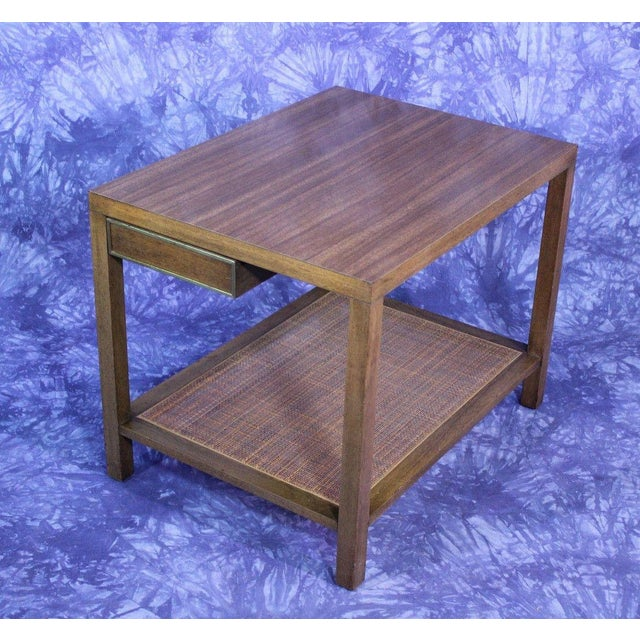 On offer on this occasion is a rare Harvey Probber end table with one drawer and woven bottom, circa 1950s. Laminate top....