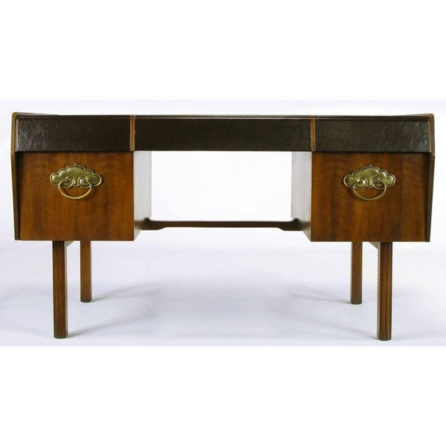 Mid-Century Modern Desk by Bert England for Widdicomb in Leather, Walnut and Bronze For Sale - Image 10 of 10