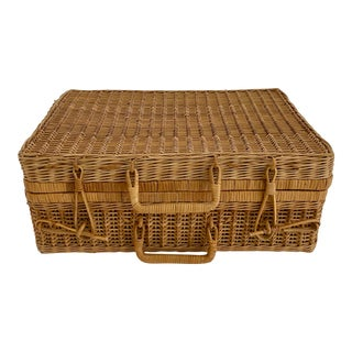 1970s Wicker Suitcase For Sale