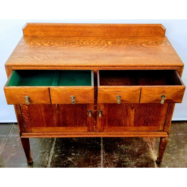 Antique English Oak Arts & Crafts Sideboard / Buffet For Sale - Image 11 of 13