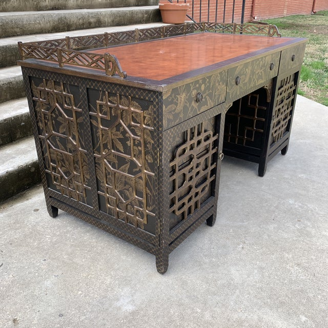 Asian Drexel Heritage Mandalay Chinoiserie Desk For Sale - Image 3 of 13