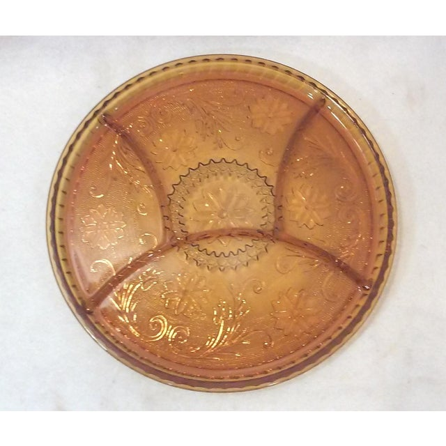 Gold Sandwich Glass Divided Serving Tray - Image 2 of 2