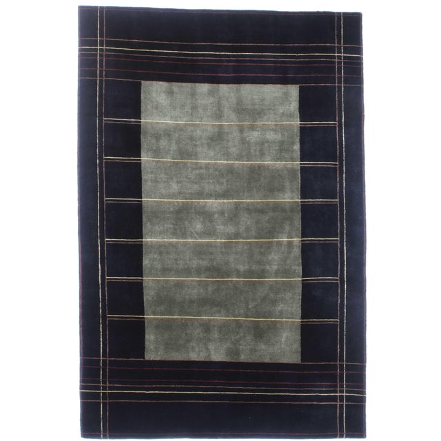 Early 21st Century Hand-Knotted Indian Tibetan Wool Rug - 6′ × 8′10″ For Sale - Image 5 of 5