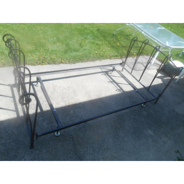 Wrought Iron Sleigh Twin Bed Frame - Image 3 of 10