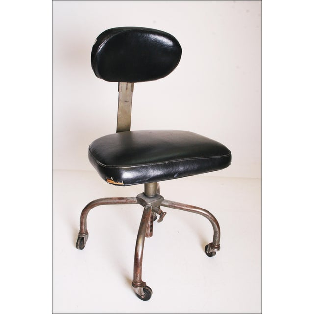 Vintage Industrial Swivel Office Chair with Black Upholstery For Sale - Image 11 of 11