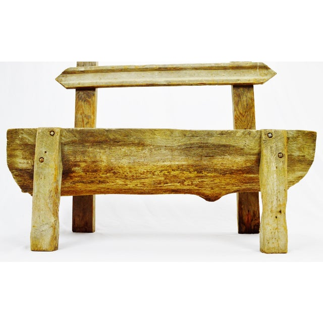 """Rustic Antique Primitive """"Petrified"""" Wood Log Bench For Sale - Image 3 of 13"""