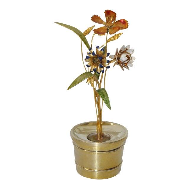 Gorham Sterling & Enamel Flower Arrangement Figure - Image 1 of 7