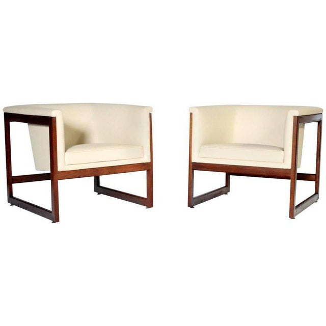 Tan Pair of Milo Baughman Cube Club Chairs For Sale - Image 8 of 8