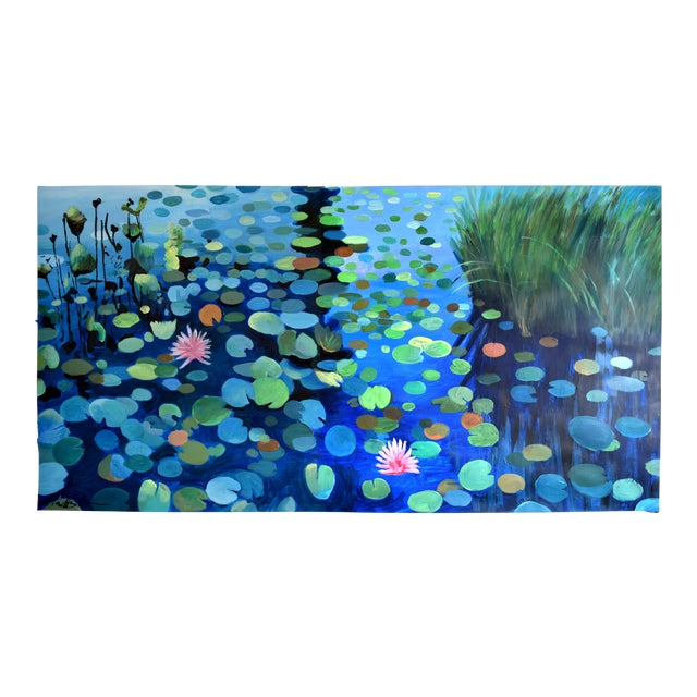 Large Waterlily Sunset Acrylic Painting For Sale