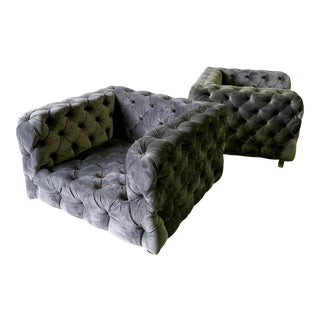 Modern + Large Tufted Contemporary Lounge Club Chairs / Armchairs, a Pair For Sale