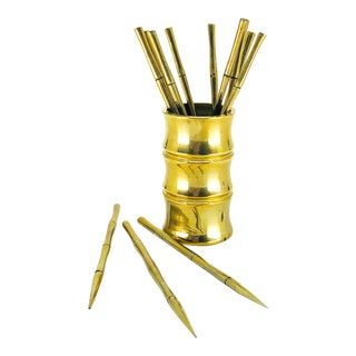 Solid Brass Bamboo Party Picks - Set of 13 For Sale
