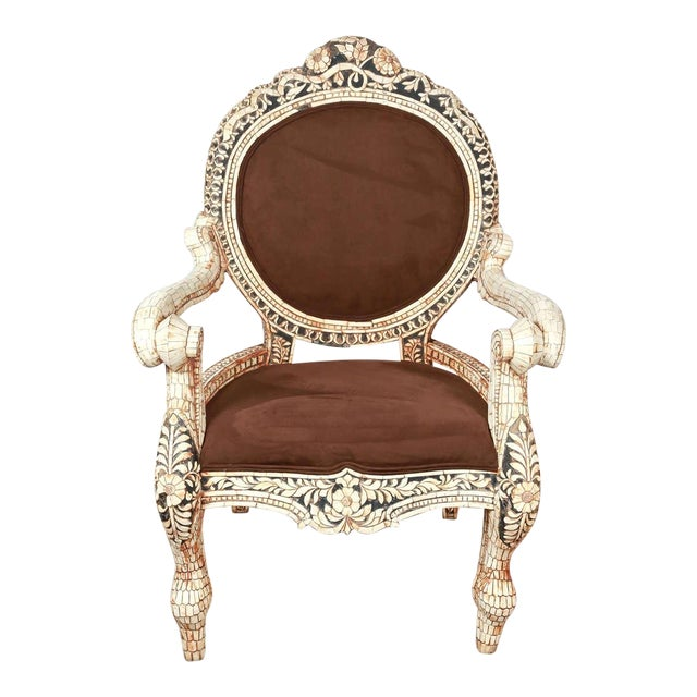 Early 20th Century Vintage Bone Inlaid Anglo-Indian Armchair For Sale