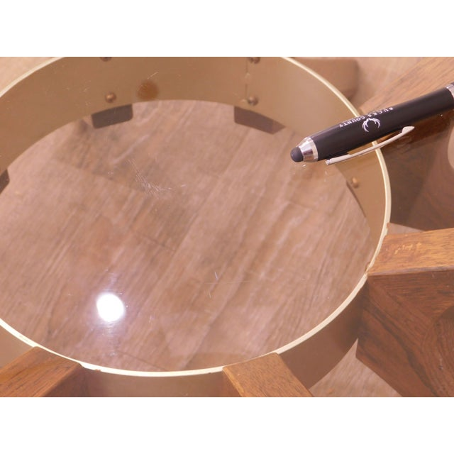 Broyhill Brasilia Mid Century Modern Walnut Cathedral Coffee Table For Sale - Image 9 of 12