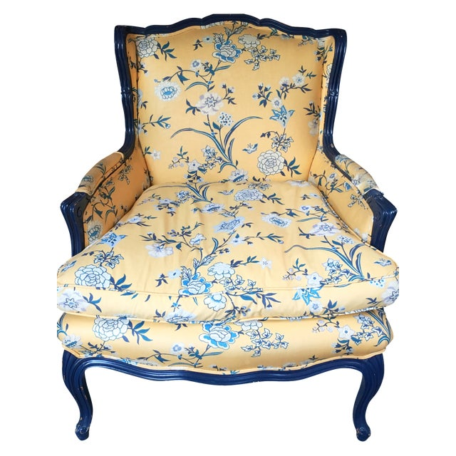 Yellow French Country Armchairs - A Pair | Chairish