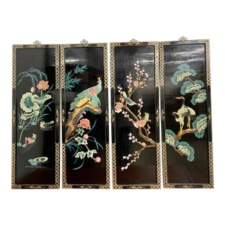 Set of 4 Chinoiserie Black Lacquer Panels For Sale