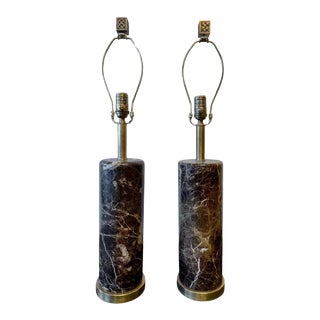 Deco Brass Base Marble Cylindrical Form Table Lamps With Finials - a Pair For Sale
