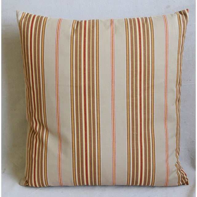"Abstract French Striped Ticking Feather/Down Pillows 23"" Square - Pair For Sale - Image 3 of 12"