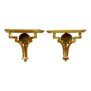 Sarreid Brass & Pine Shell Wall Brackets Shelves - a Pair For Sale