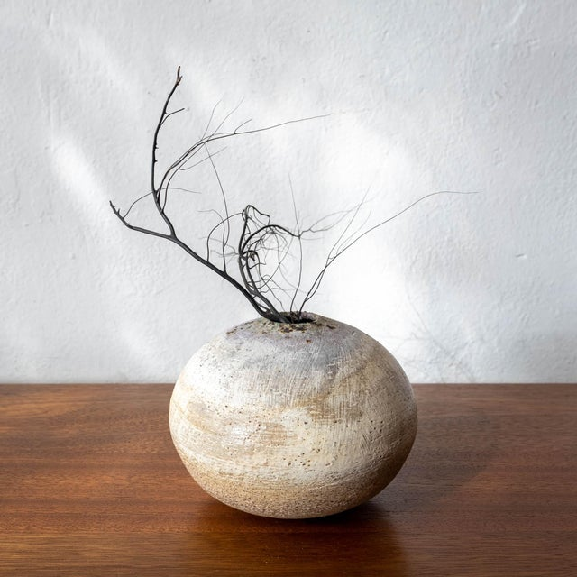 Adam Silverman/Atwater Pottery ceramic vase or weed pot. A beautifully thrown form with a creamy glaze with bits of green...