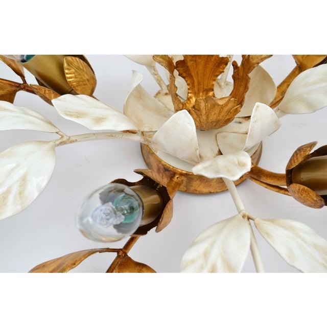 Willy Daro Style Belgium Brass & Enamel Flower Flush Mount in Gold White Finish. Takes 5 European Light Bulbs with max. 40...
