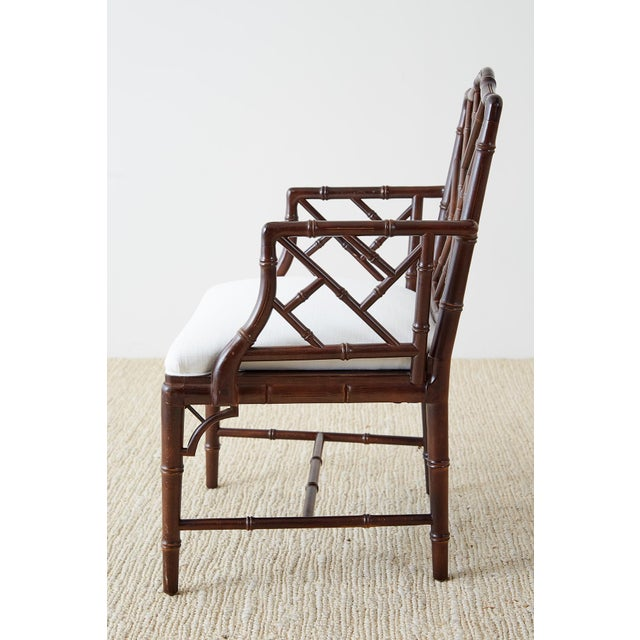 Chinese Chippendale Chocolate Lacquered Faux Bamboo Dining Chairs For Sale - Image 12 of 13