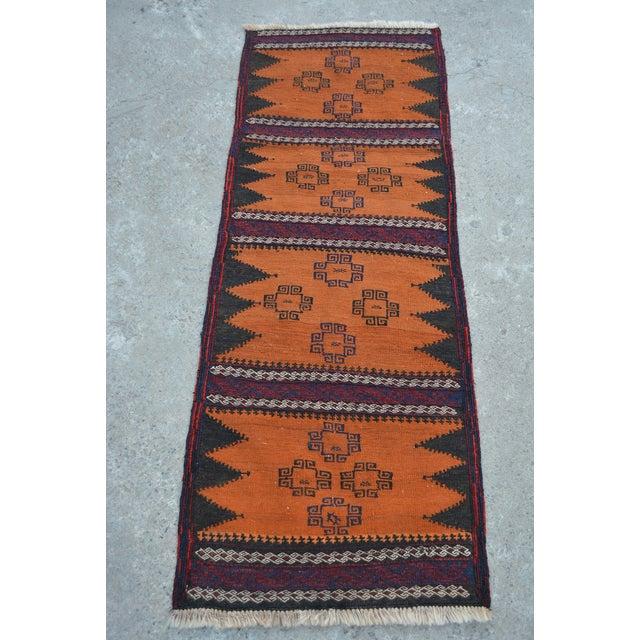 """Vintage Afghan Sumak Kilim Runner - 2' x 5'3"""" - Image 2 of 6"""
