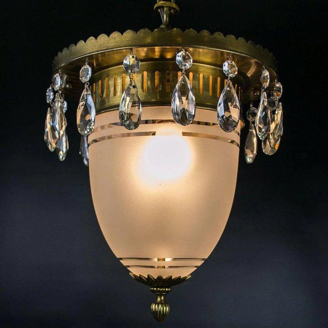 1930's Brass Pendant with Frosted Glass Dome and Crystal Accents For Sale - Image 4 of 7