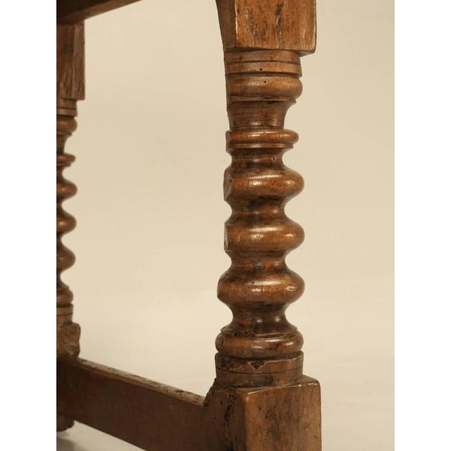 Wood Antique Spanish Walnut End or Side Table For Sale - Image 7 of 10