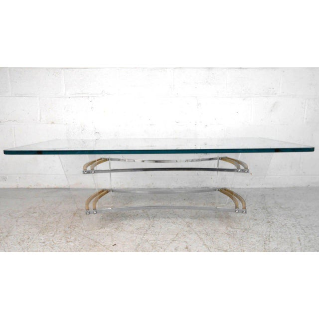 Metal Vintage Lucite and Brass Coffee Table by Charles Hollis Jones For Sale - Image 7 of 7