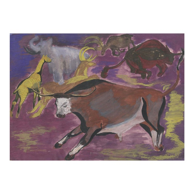Vintage Abstract Animal Oil Painting - Image 1 of 3