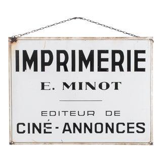 1950s Vintage French 'Imprimerie' Sign For Sale