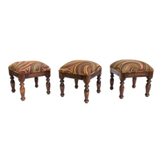Upholstered Wood Stools - Set of 3 For Sale