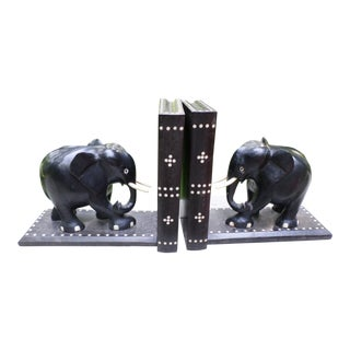Carved Ebony Elephant Bookends - a Pair For Sale