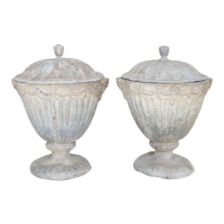 19th Century English Lead Urns with Lids - a Pair For Sale