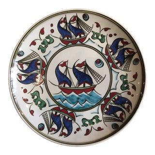 "Contemporary ""Gemi"" Hand-Painted 9.5"" Dinner Plate From Tamam For Sale"