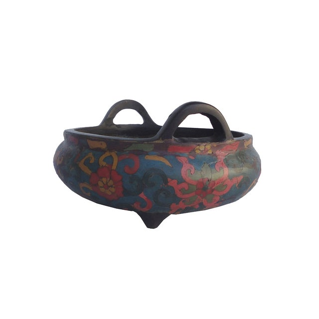 This is a hand made precise Cloisonne Metal incense burner with three legs simple handle. The body is in blue base color...