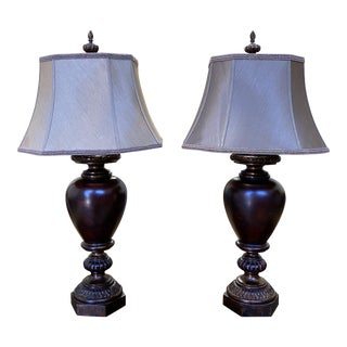 Fine Art Lamps Wood Urn Table Lamps - a Pair For Sale