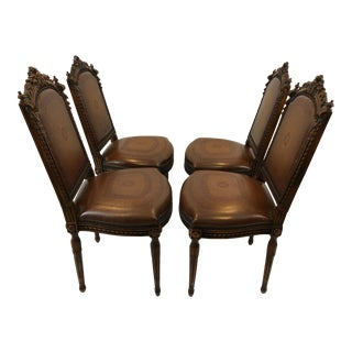 1980s Vintage Jacobean Style Carved Walnut & Leather Side Dining Chairs- Set of 4 For Sale