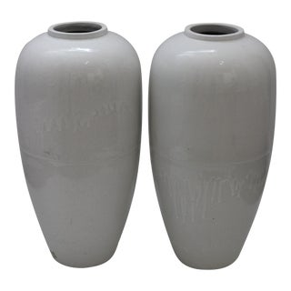 "Art Deco Style 23"" Hand Glazed White Jardinieres Urns - a Pair For Sale"