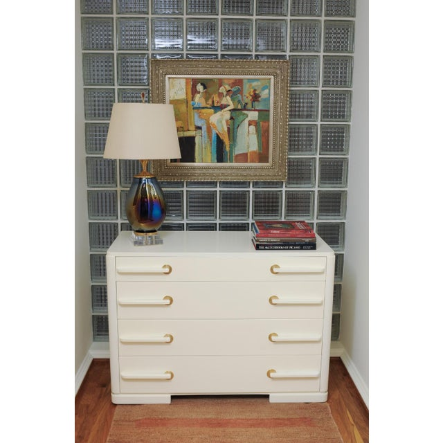 Sublime Restored Streamline Moderne Commode by Gilbert Rohde, circa 1930 For Sale - Image 12 of 13