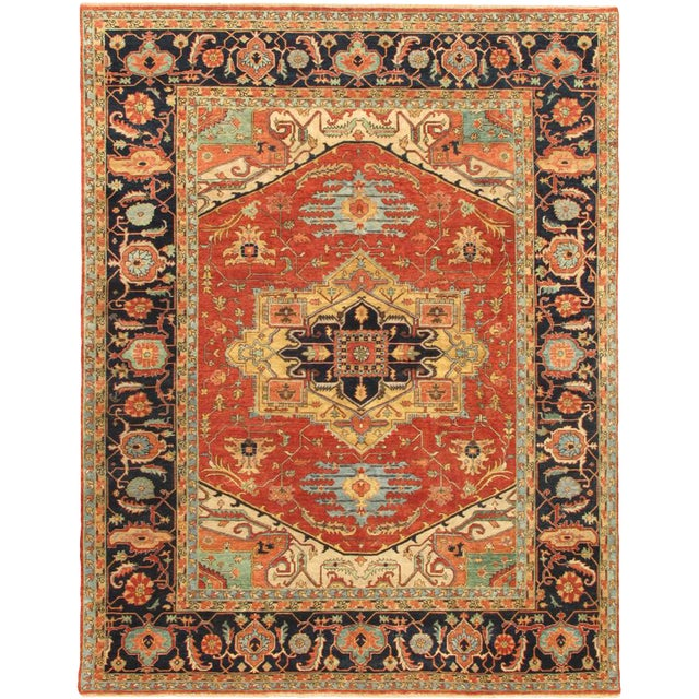 """Modern Pasargad Serapi Collection Wool Area Rug- 9'10"""" X 15' 7"""" For Sale"""