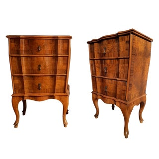 French Provincial Bedside Cabinets in Walnut Marquetry - A Pair For Sale