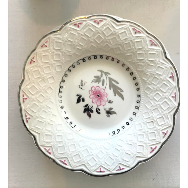 Vintage Wedgwood of Etruria and Barlaston Fine Bone China Pink & Silver Lustre Scalloped Edge Plates - Set of 7 For Sale - Image 10 of 13