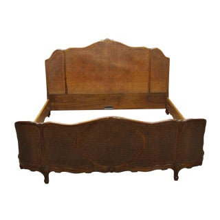 Antique Art Deco Walnut & Cane King Size Bedframe For Sale